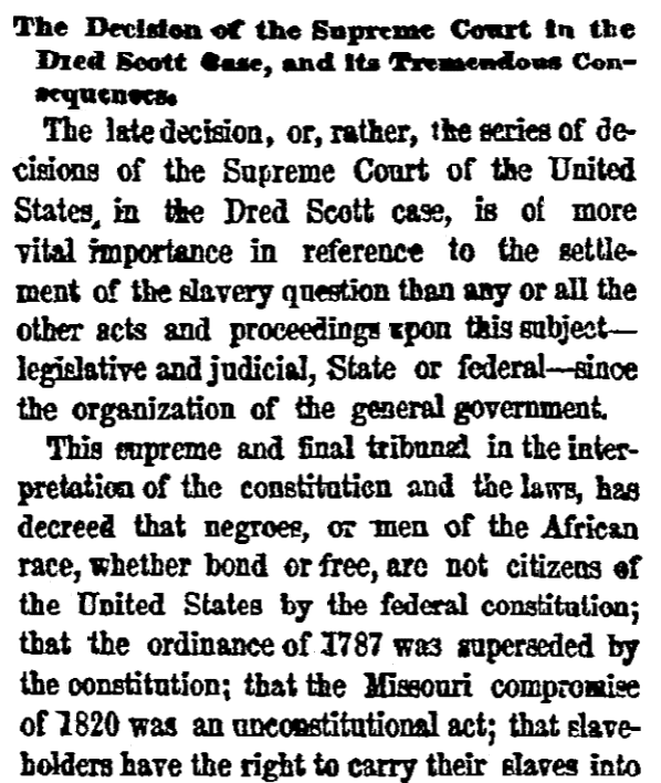 An article about the Dred Scott case, New York Herald newspaper article 8 March 1857