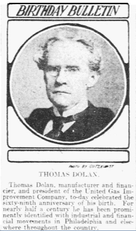 An article about Thomas Dolan, Philadelphia Inquirer newspaper article 27 October 1903