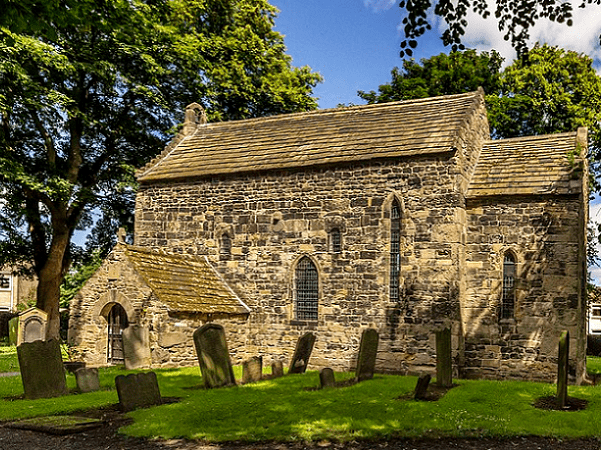 Photo: Escomb Church, a restored 7th century Anglo-Saxon church, in Escomb, County Durham, England, seen from the south. Credit: Hodgsonge; Wikimedia Commons.