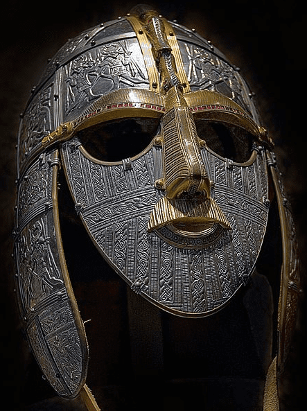 Photo: replica of the Anglo-Saxon helmet from the Sutton Hoo ship-burial, England