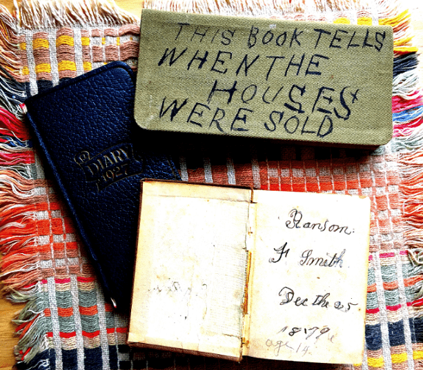 Photo: two of Ransom Smith's diaries and a book he received as a Christmas present