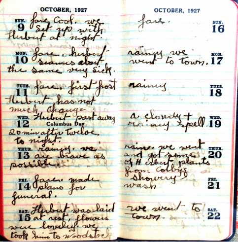 Photo: Ransom Smith's diary, showing entries from October 1927