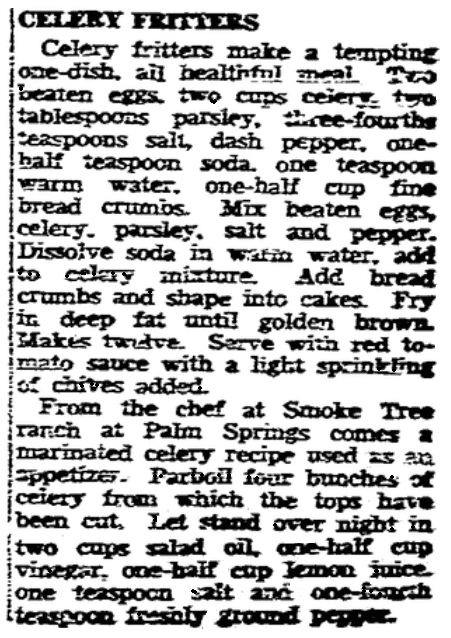 A celery recipe, San Diego Union newspaper article 2 January 1944