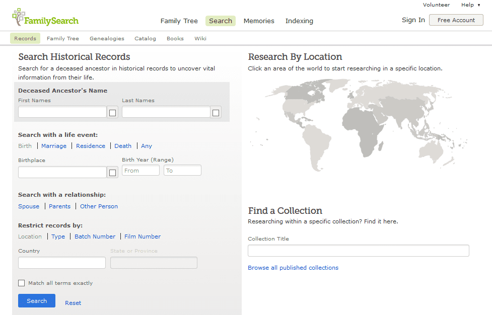 A screenshot of FamilySearch's Catalog page