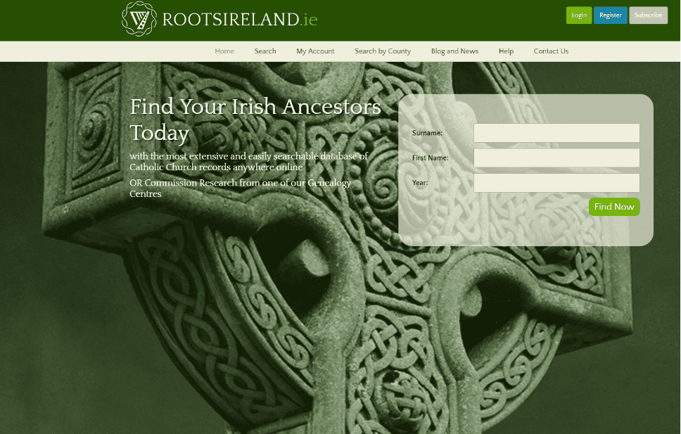 A screenshot of the home page for RootsIreland.ie