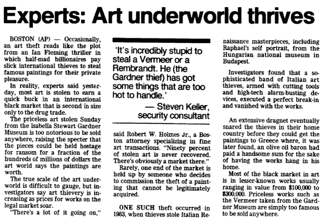 An article about the art theft at the Isabella Stewart Gardner Museum, Trenton Evening Times newspaper article 20 March 1990