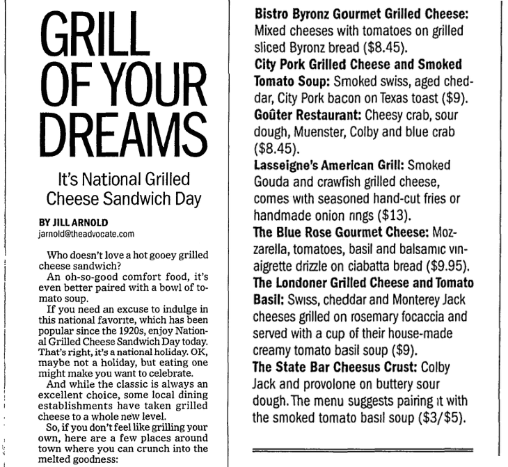 Grilled cheese sandwich recipes, Advocate newspaper article 12 April 2016