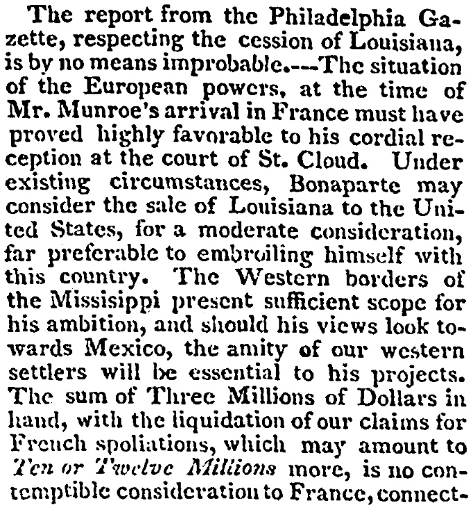 An article about the Louisiana Purchase, Albany Gazette newspaper article 6 June 1803