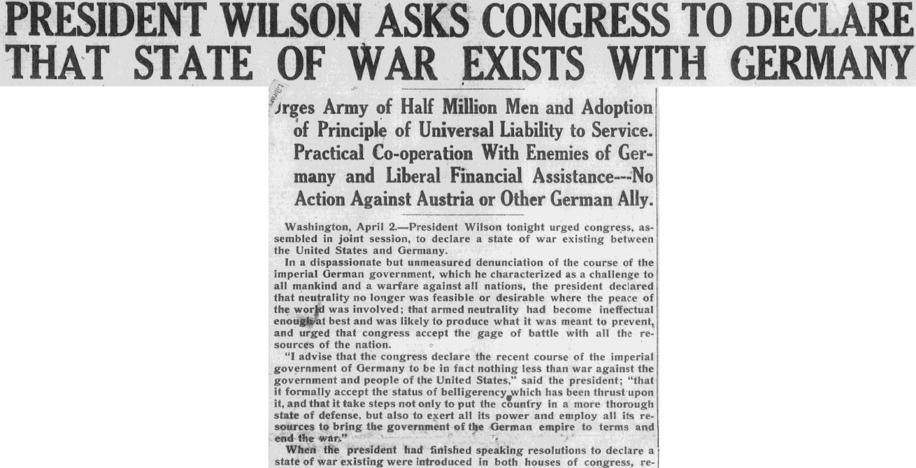 An article about President Woodrow Wilson asking Congress to declare war on Germany, Anaconda Standard newspaper article 3 April 1917