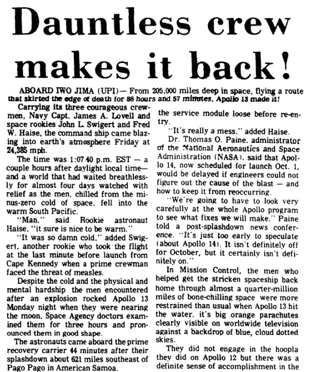 An article about Apollo 13, Augusta Chronicle newspaper article 18 April 1970