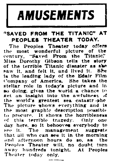 """An article about the movie """"Saved from the Titanic,"""" Augusta Chronicle newspaper article 15 May 1912"""