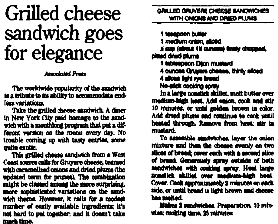 A grilled cheese sandwich recipe, Augusta Chronicle newspaper article 10 October 2001