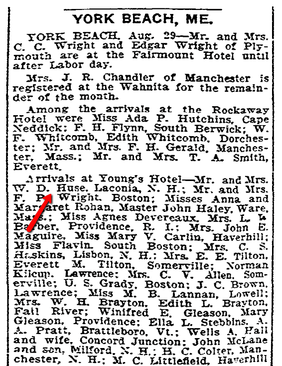 An article about visitors to York Beach, Maine, Boston Herald newspaper article 30 August 1908