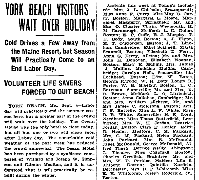 An article about visitors to York Beach, Maine, Boston Herald newspaper article 5 September 1909