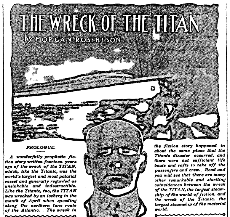 """An article about Morgan Robertson and his novel """"The Wreck of the Titan, or Futility,"""" Bridgeport Evening Farmer newspaper article 1 May 1912"""