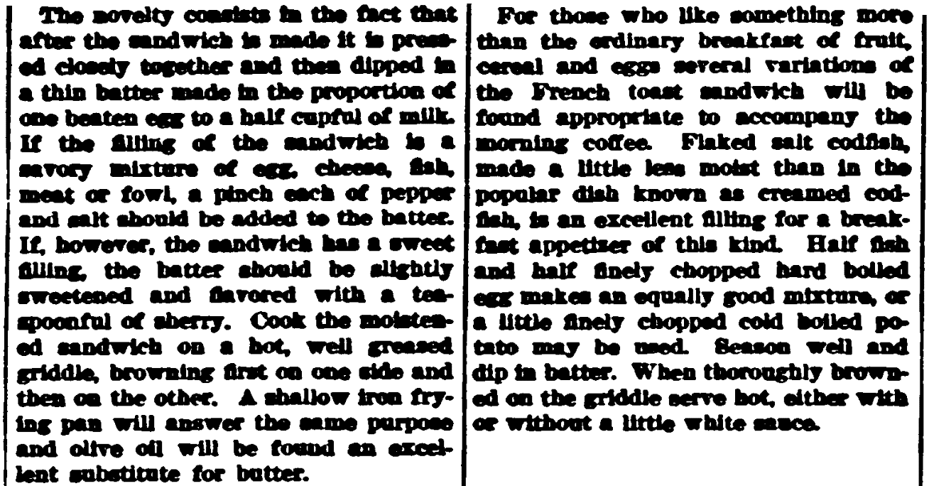 Grilled cheese sandwich recipes, Broad Ax newspaper article 24 July 1915
