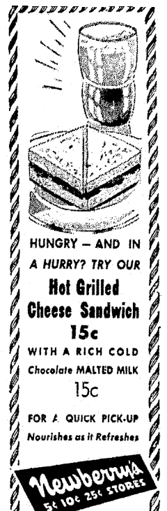 A diner's ad for grilled cheese sandwiches, Columbus Daily Enquirer newspaper advertisement 13 October 1945