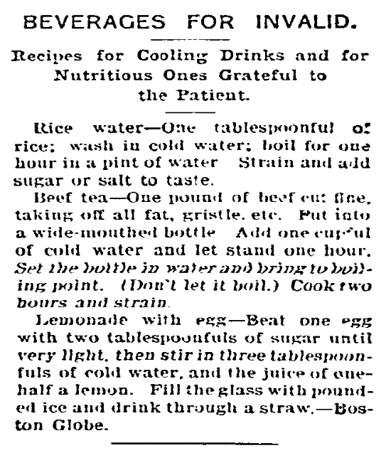 Recipes, Daily Herald newspaper article 1 September 1905
