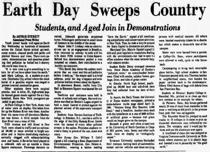 An article about the first Earth Day, Dallas Morning News newspaper article 23 April 1970