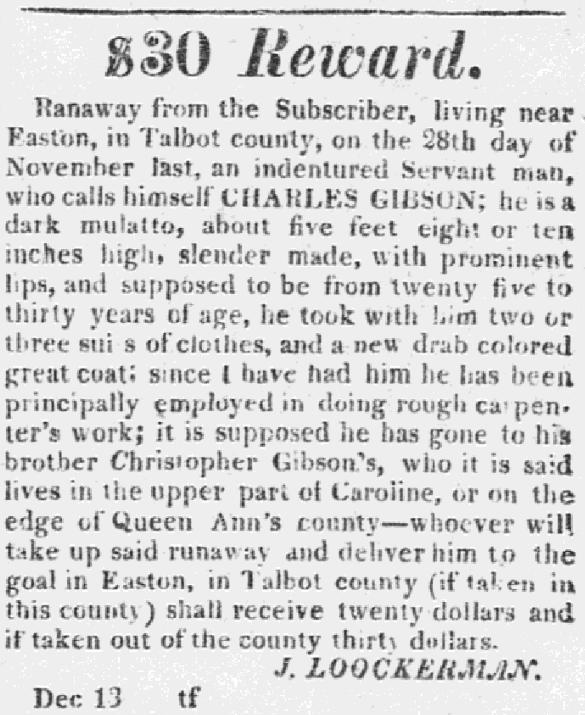 A runaway ad, Easton Gazette newspaper advertisement 13 December 1823