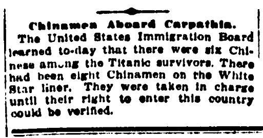 An article about Chinese passengers onboard the Titanic, Evening World newspaper article 19 April 1912