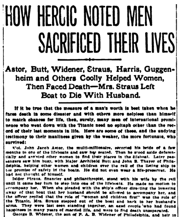 An article about the Titanic, Evening World newspaper article 19 April 1912