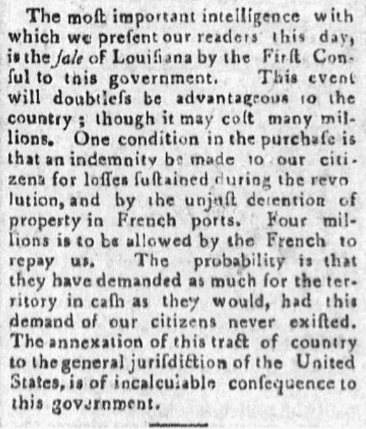 An article about the Louisiana Purchase, Farmer's Weekly Museum newspaper article 5 July 1803