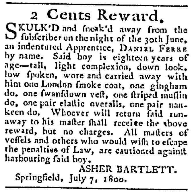 A runaway ad, Federal Spy newspaper advertisement 7 July 1800