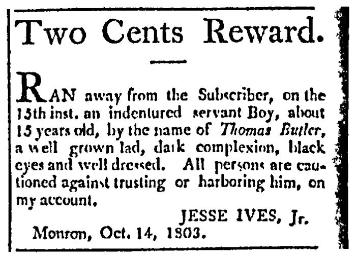 A runaway ad, Federal Spy newspaper advertisement 15 November 1803