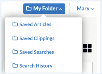 "A screenshot of GenealogyBank's ""My Folder"" feature"