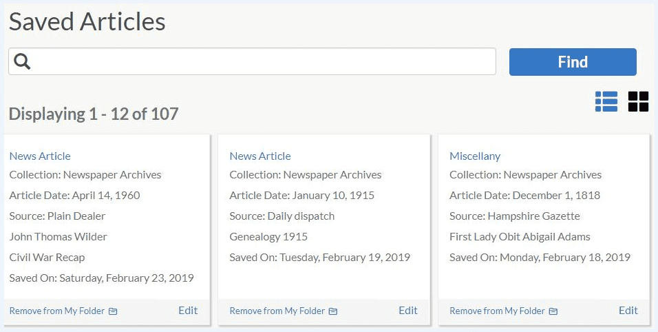 "A screenshot of GenealogyBank's ""Saved Articles"" feature"