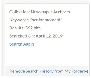 "A screenshot of GenealogyBank's ""Search History"" feature"