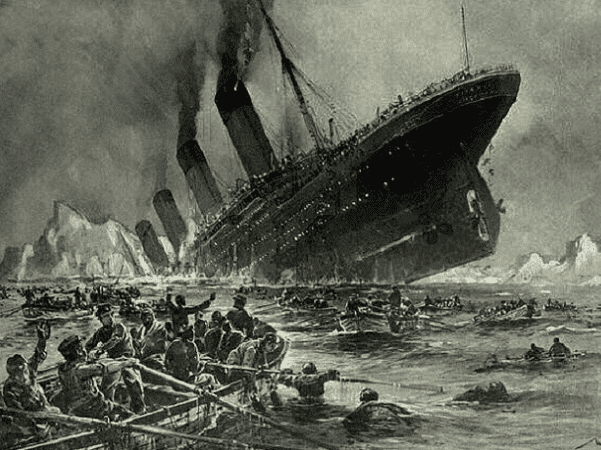 """Illustration: """"Titanic Sinking,"""" by Willy Stöwer, 1912. Credit: Wikimedia Commons."""