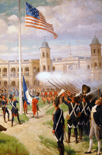 "Illustration: ""Hoisting of American Colors over Louisiana"" by Thure de Thulstrup, depicts the flag raising in the Place d'Armes of New Orleans, marking the transfer of sovereignty over French Louisiana to the United States, 20 December 1803"