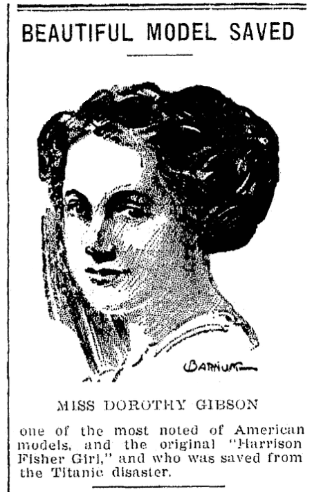 An article about Dorothy Gibson and the Titanic, Muskegon Chronicle newspaper article 20 April 1912