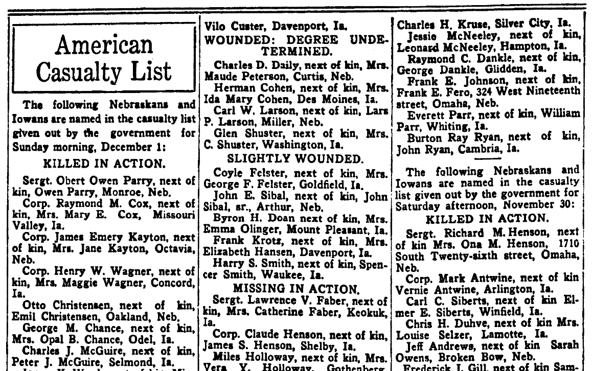 A WWI casualty list, Omaha Daily Bee newspaper article 1 December 1918