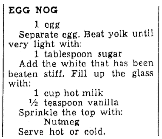 A recipe for egg nog, Oregonian newspaper article 29 January 1940