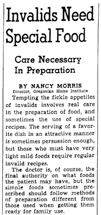 Recipes, Oregonian newspaper article 29 January 1940