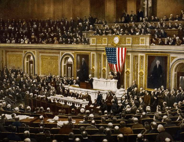 Photo: President Woodrow Wilson asking Congress to declare war on Germany, causing the United States to enter World War I, 2 April 1917