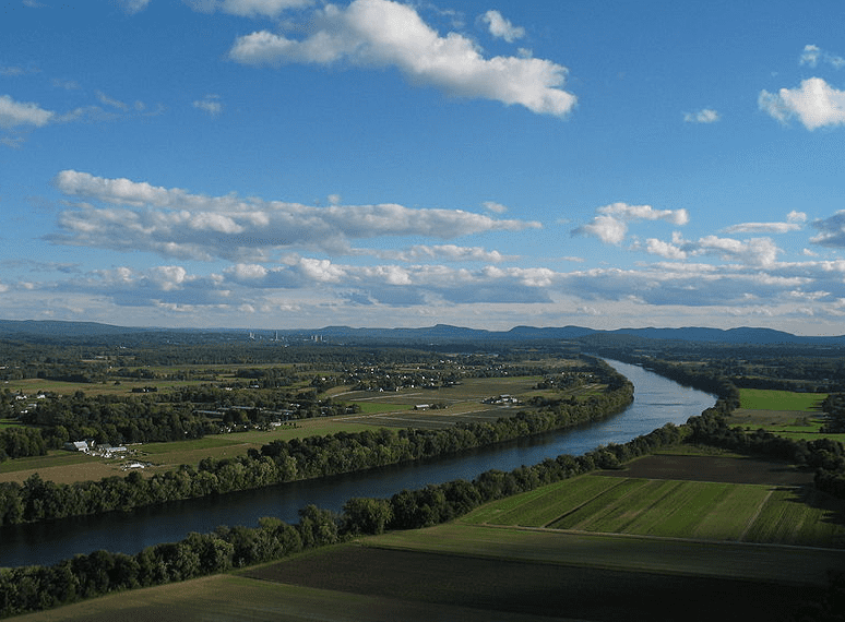 Photo: the Connecticut River and Pioneer Valley of Massachusetts, looking south from Mt. Sugarloaf in Deerfield