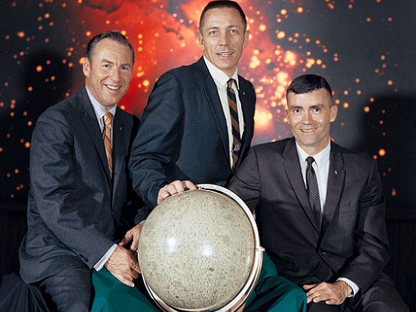 Photo: The Apollo 13 lunar landing mission prime crew from left to right are: Commander, James A. Lovell Jr.; Command Module pilot, John L. Swigert Jr.; and Lunar Module pilot, Fred W. Haise Jr., 29 April 1970. Credit: NASA; Wikimedia Commons.