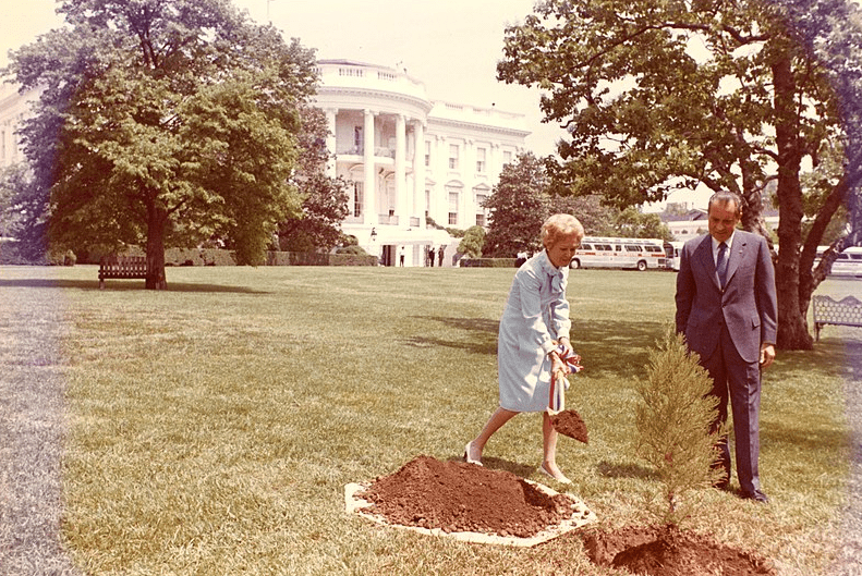 Photo: President and Mrs. Richard Nixon plant a tree on the White House South Lawn to recognize the first Earth Day