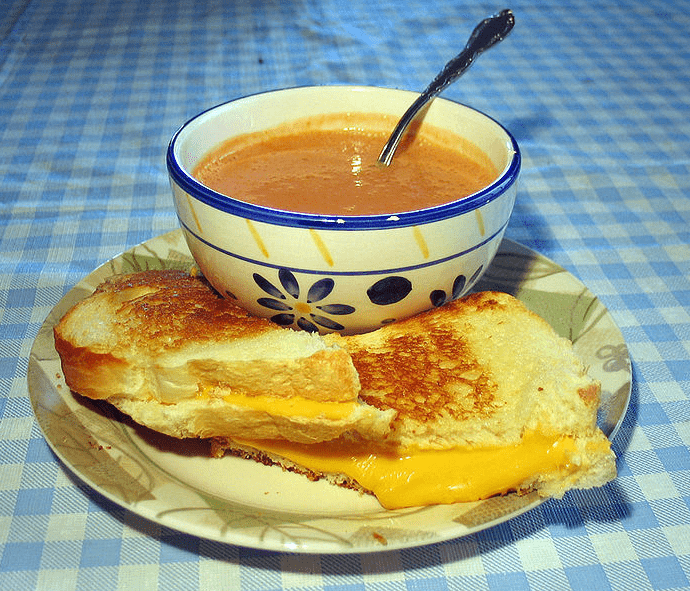Photo: grilled cheese sandwich and tomato soup