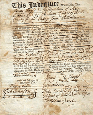 Photo: the contract for the indenture of Henry Mayer to Abraham Hestant of Bucks County, Pennsylvania, on 29 September 1738