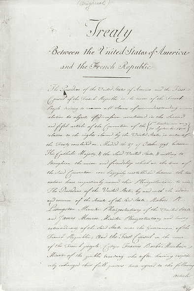 Photo: the original treaty of the Louisiana Purchase, between the United States of America and the French Republic, ceding the province of Louisiana to the U.S., 30 April 1803