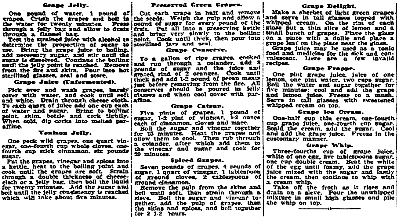 Recipes, Plain Dealer newspaper article 5 September 1919