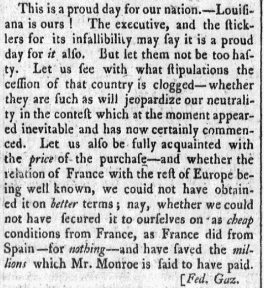 An article about the Louisiana Purchase, Republican newspaper article 4 July 1803