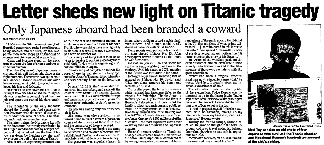 An article about Masabumi Hosono and the Titanic, State Journal-Register newspaper article 20 December 1997