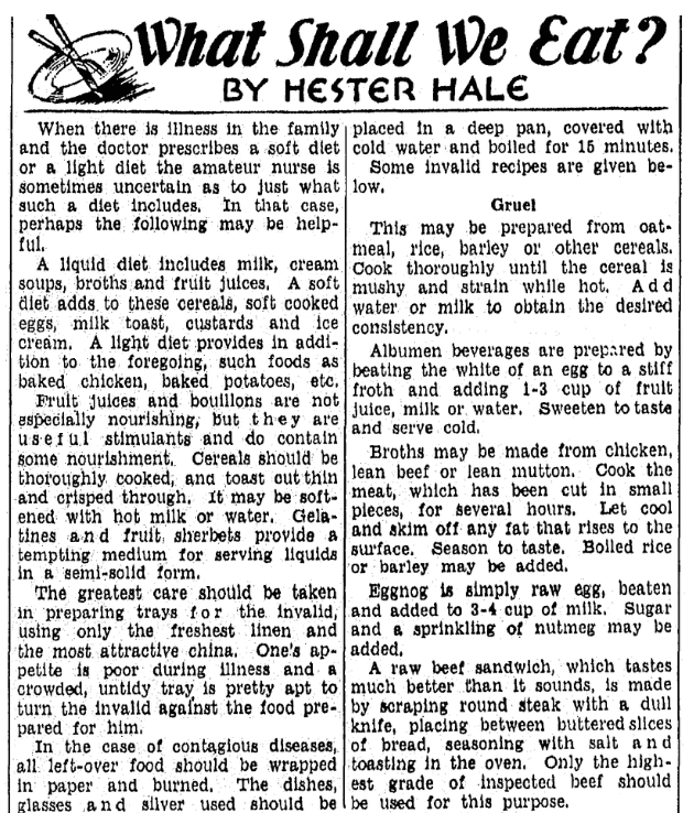 Recipes, Tampa Tribune newspaper article 25 June 1936