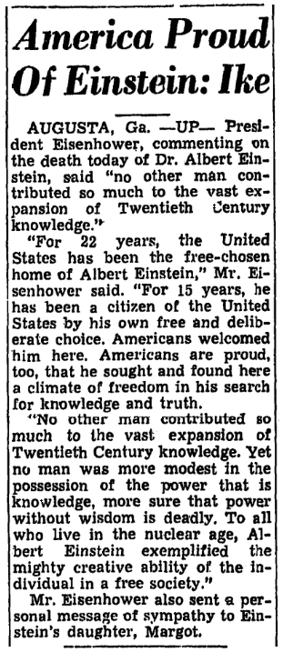 An article about the death of Albert Einstein, Trenton Evening Times newspaper article 18 April 1955